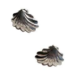 1980s Silvertone Shell Earrings for Pierced Ears