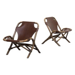 1980s Skai Leather Lounge Chairs, Bamboo Frame
