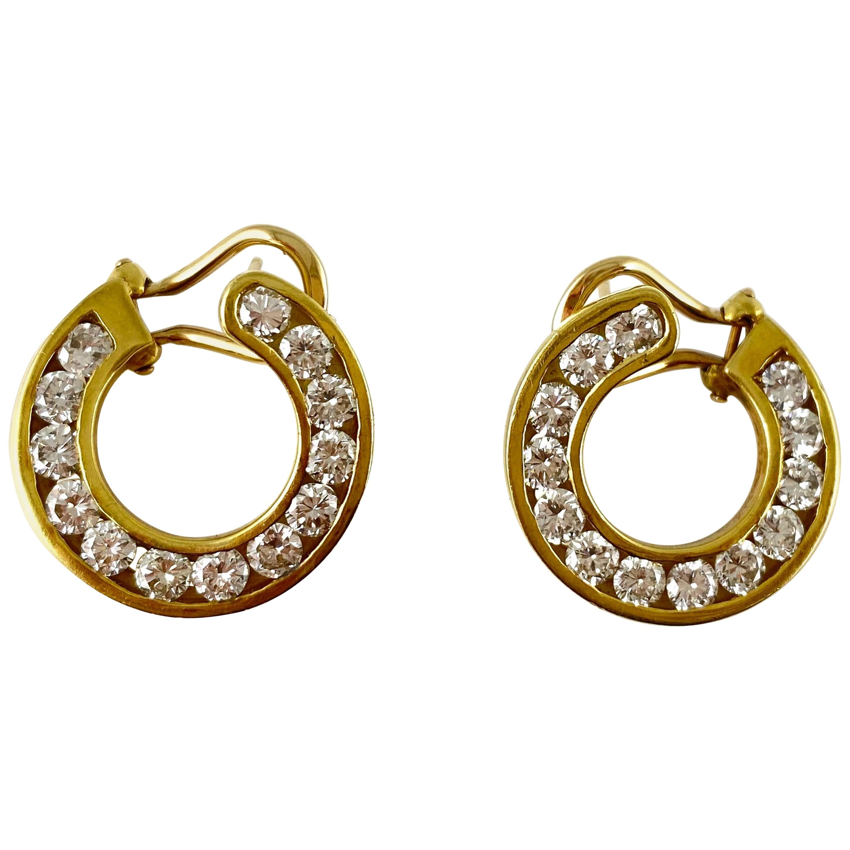1980s Small Round Hoop Earring with Round Diamonds