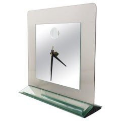 1980s Smoked Glass and Mirror Clock