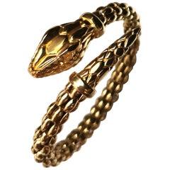 1980s Snake Yellow Gold 18 Karat Bracelet