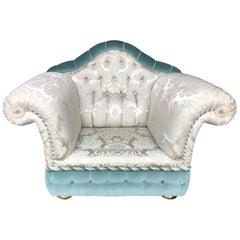 1980s Sofa and Armchair in Satin Zanaboni Milano Chester Silk