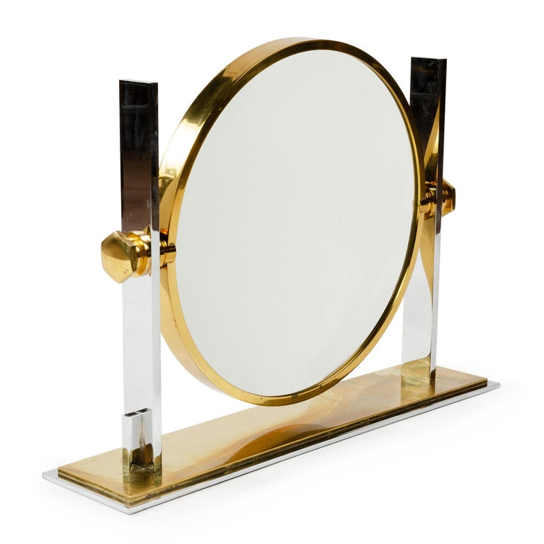 American 1980s Solid Brass Chrome-Plated Vanity Mirror by Karl Springer For Sale