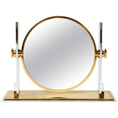 1980s Solid Brass Chrome-Plated Vanity Mirror by Karl Springer