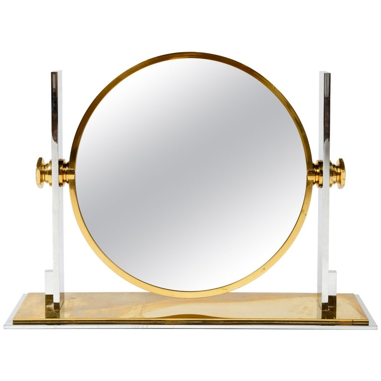 1980s Solid Brass Chrome-Plated Vanity Mirror by Karl Springer For Sale