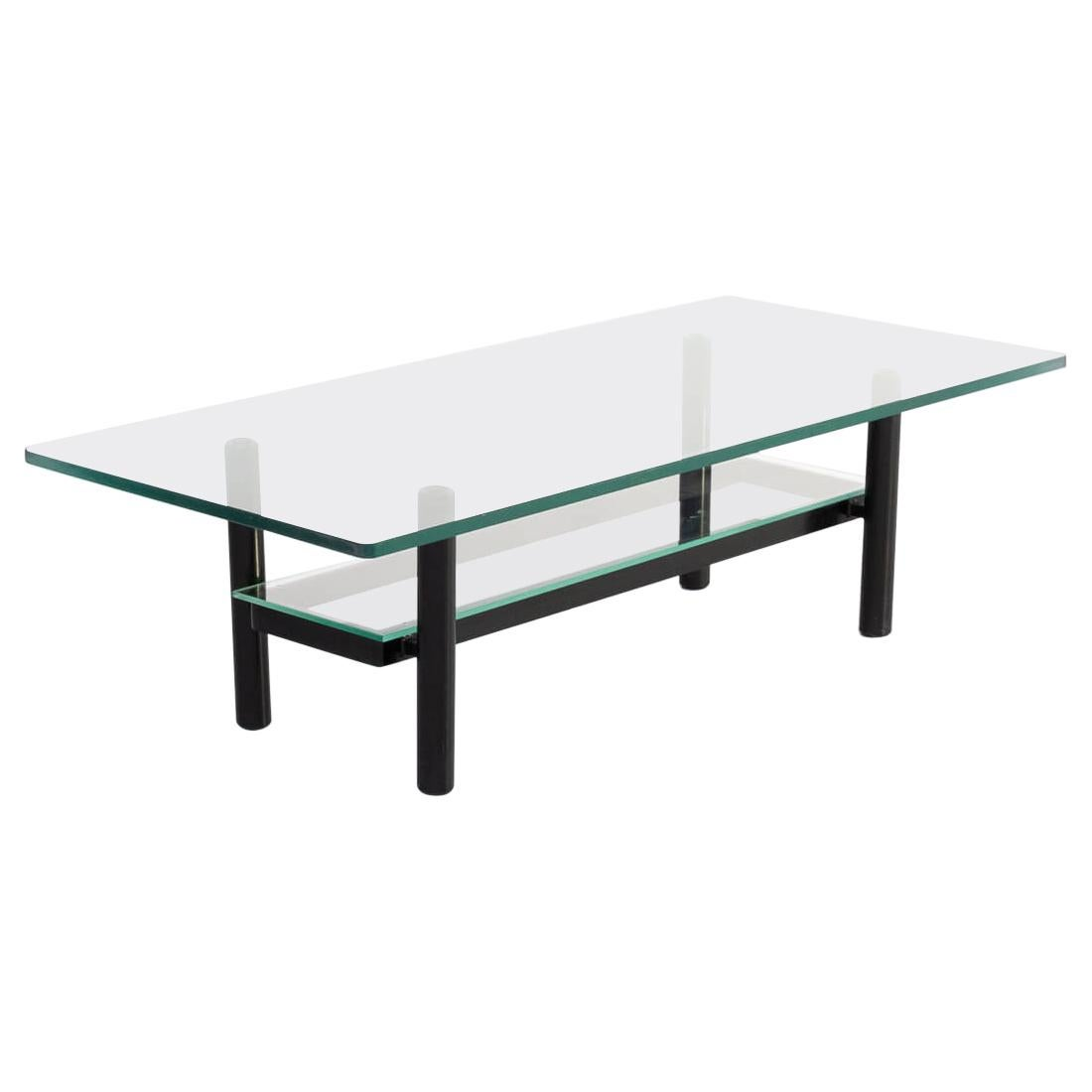 1980s Solid Metal and Glass Coffee Table