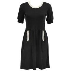 1980s Sonia Rykiel Black Cotton Jersey Dress with White Trim