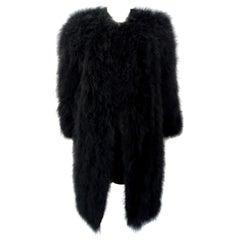 Sonia Rykiel 1980s Black Marabou Feather Coat