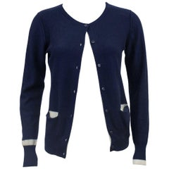 1980s Sonia Rykiel Cashmere/Cotton Mix Navy Blue Cardigan