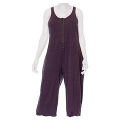 1980S SONIA RYKIEL Dark Grey Linen & Cotton Jersey Jumpsuit