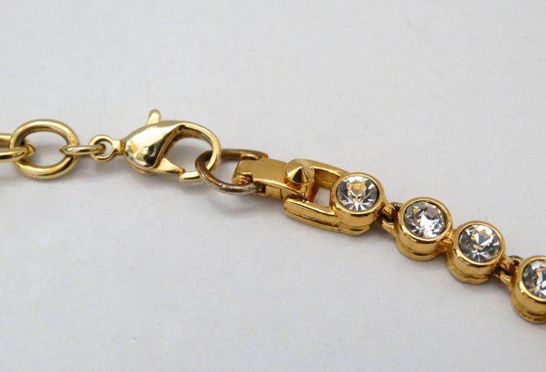 Women's 1980s Sonia Rykiel Hammered Heart Pendant Rhinestone Necklace  For Sale