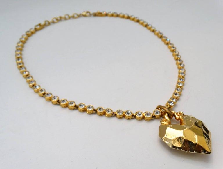 1980s Sonia Rykiel Hammered Heart Pendant Rhinestone Necklace  For Sale 1