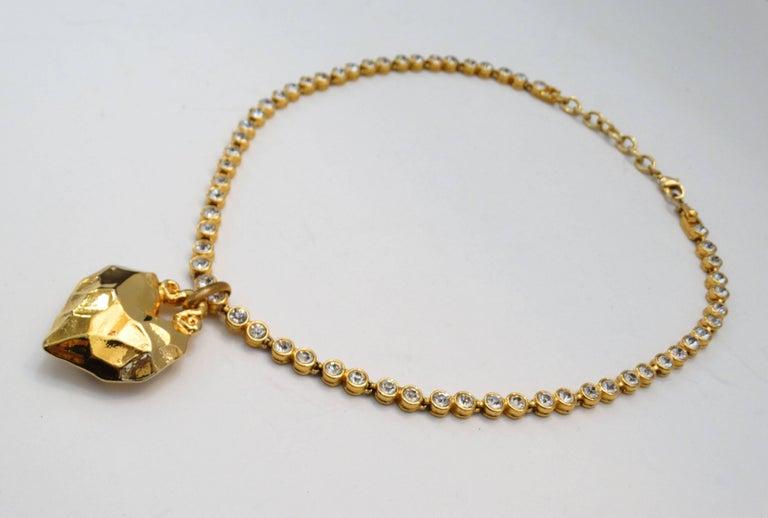 1980s Sonia Rykiel Hammered Heart Pendant Rhinestone Necklace  For Sale 2