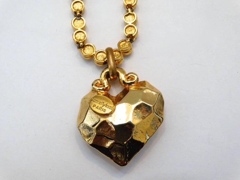 1980s Sonia Rykiel Hammered Heart Pendant Rhinestone Necklace  For Sale 3