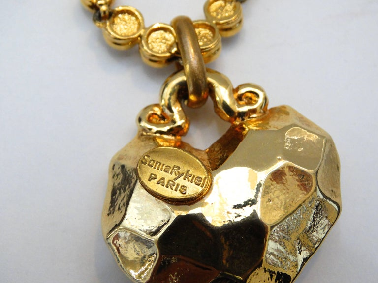 1980s Sonia Rykiel Hammered Heart Pendant Rhinestone Necklace  For Sale 4