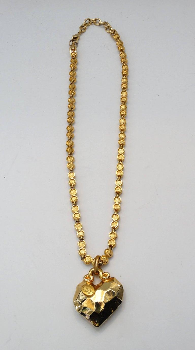 1980s Sonia Rykiel Hammered Heart Pendant Rhinestone Necklace  For Sale 5