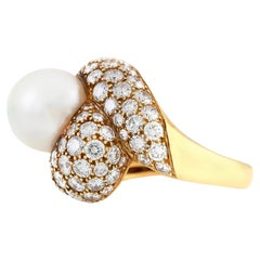 1980s South See Pearl with Diamonds Ring