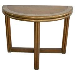 """1980s Spanish 2-Tone Bronze on Wood Round Folding Table Signed """"González"""""""