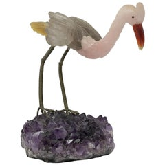 1980s Spanish Amethyst Jade and Silver Heron Figure Sculpture