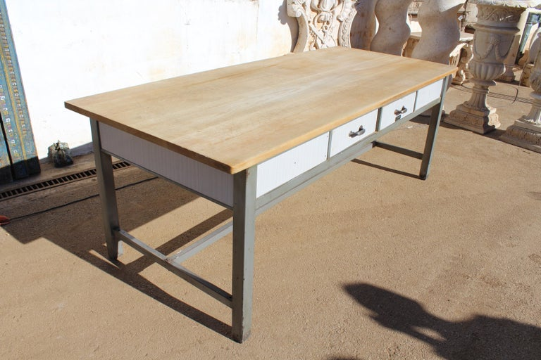 Iron 1980s Spanish Bakery Work Table with Steel Legs For Sale
