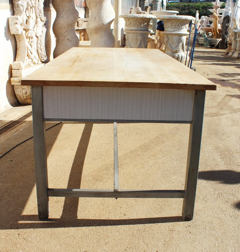 1980s Spanish Bakery Work Table with Steel Legs For Sale 2