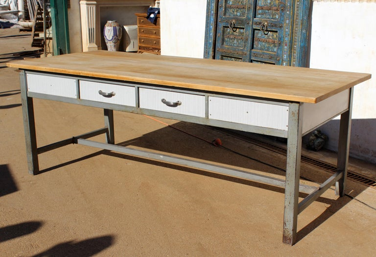 1980s Spanish Bakery Work Table with Steel Legs For Sale 3