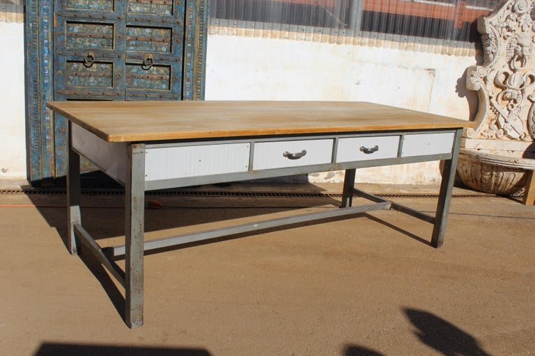 1980s Spanish Bakery Work Table with Steel Legs For Sale 4
