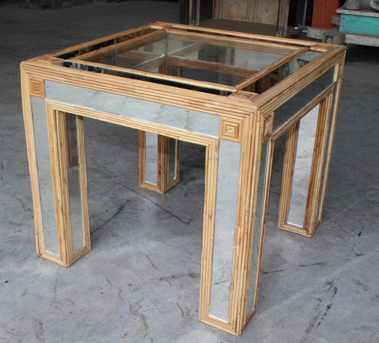 1980s Spanish Bamboo and Mirrors Side Table For Sale 6