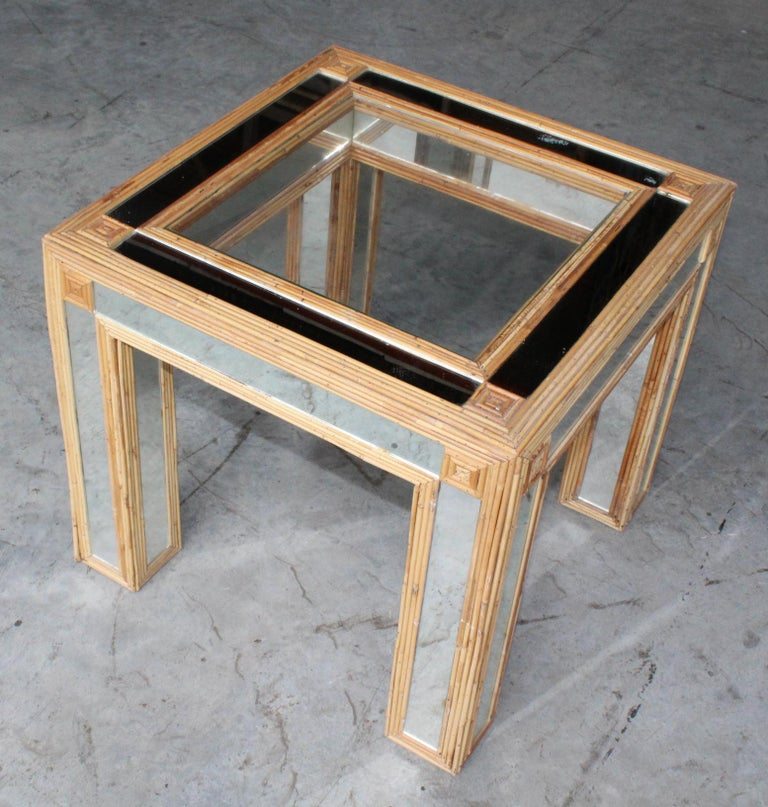 1980s Spanish Bamboo and Mirrors Side Table For Sale 7