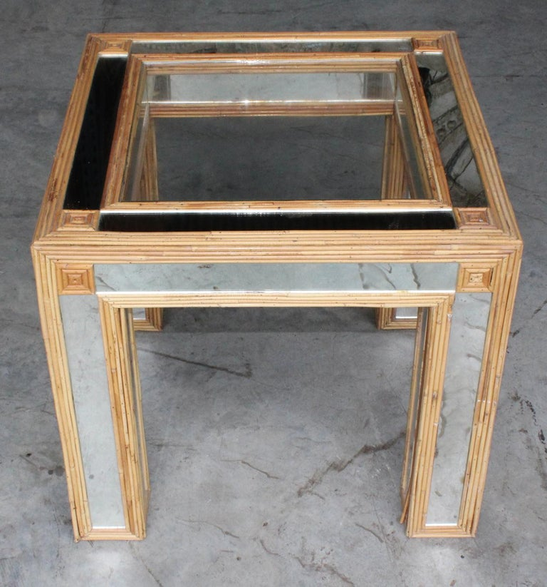 1980s Spanish bamboo and mirrors side table.