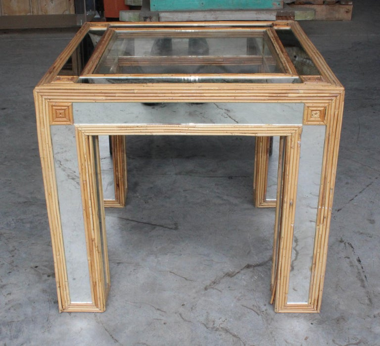 1980s Spanish Bamboo and Mirrors Side Table In Good Condition For Sale In Malaga, ES