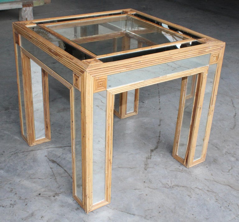 20th Century 1980s Spanish Bamboo and Mirrors Side Table For Sale
