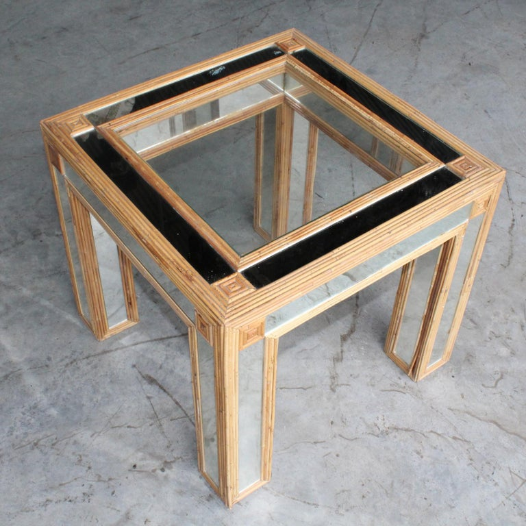 1980s Spanish Bamboo and Mirrors Side Table For Sale 1