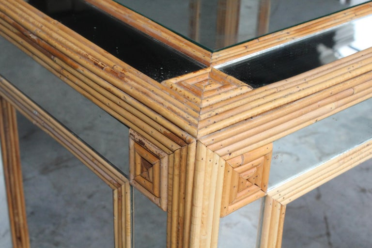 1980s Spanish Bamboo and Mirrors Side Table For Sale 2