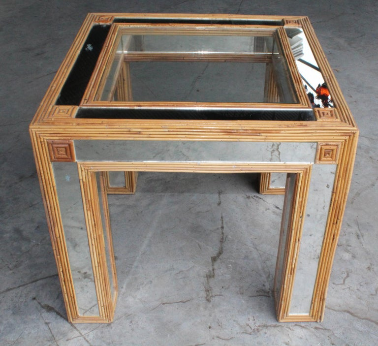 1980s Spanish Bamboo and Mirrors Side Table For Sale 3