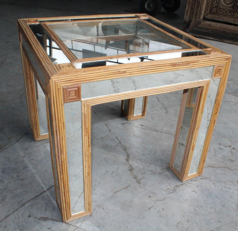 1980s Spanish Bamboo and Mirrors Side Table For Sale 4