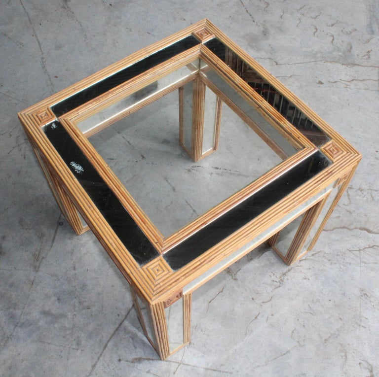1980s Spanish Bamboo and Mirrors Side Table For Sale 5