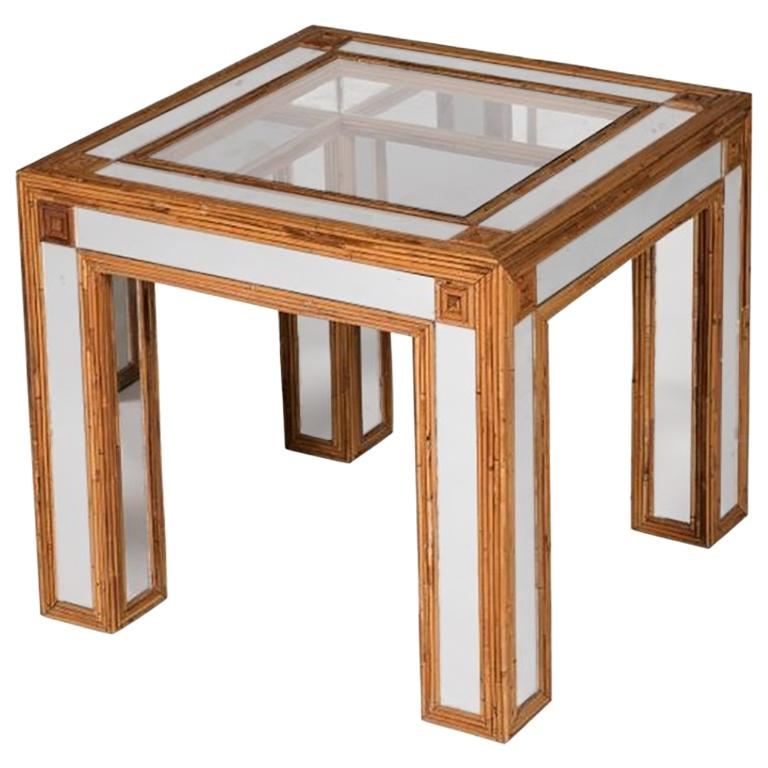 1980s Spanish Bamboo and Mirrors Side Table For Sale