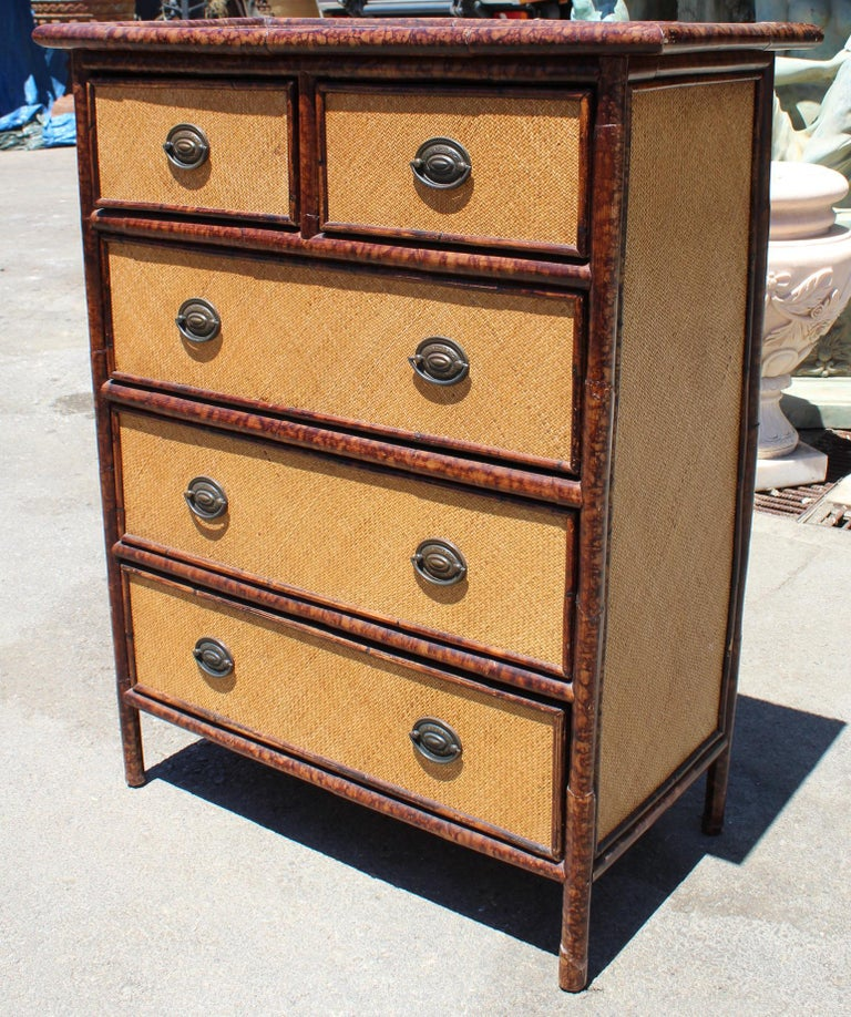 1980s spanish bamboo and rattan chest of drawers with iron handles for sale at 1stdibs. Black Bedroom Furniture Sets. Home Design Ideas
