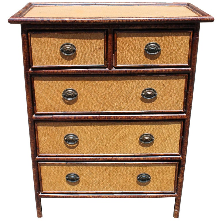 1980s Spanish Bamboo And Rattan Chest Of Drawers With Iron Handles