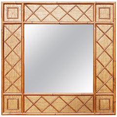 1980s Spanish Bamboo and Rattan Square Mirror