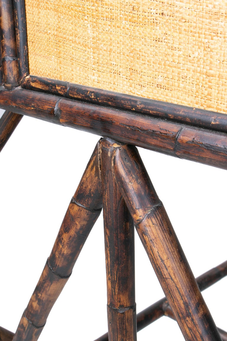 1980s Spanish Bamboo and Rattan Writing Desk For Sale 7