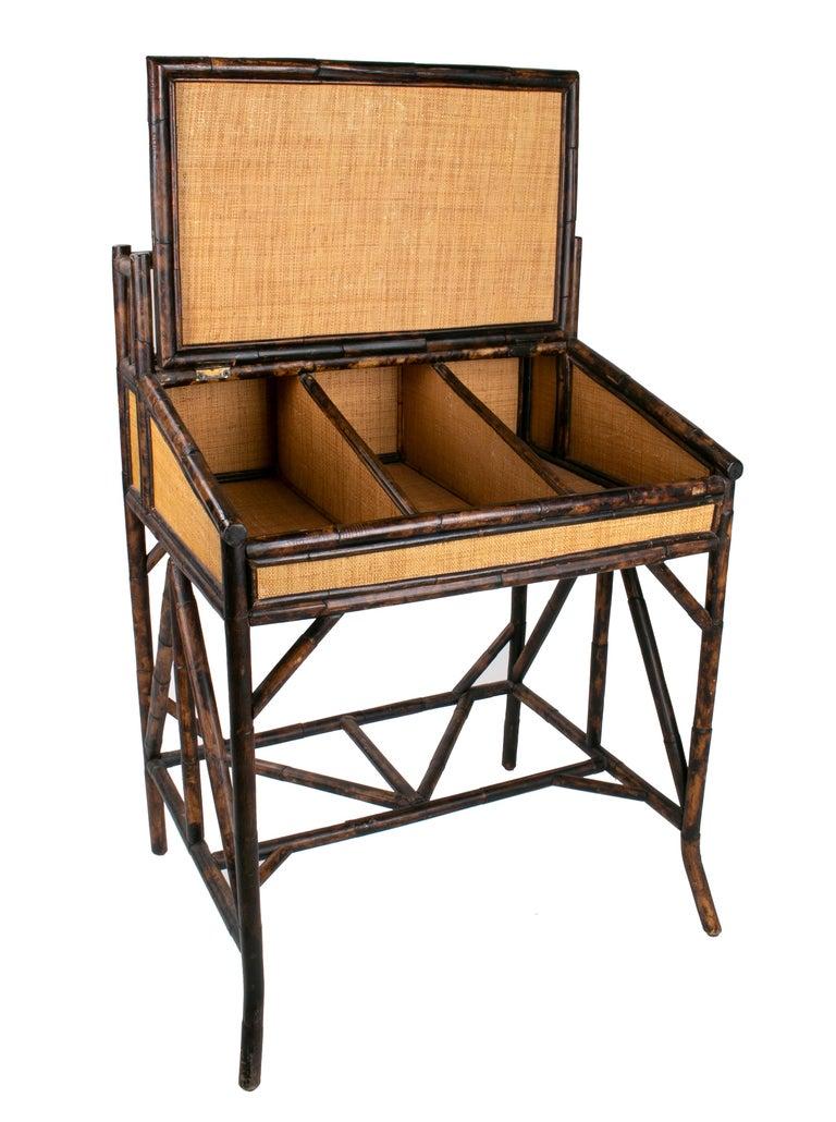 1980s Spanish bamboo and rattan writing desk.