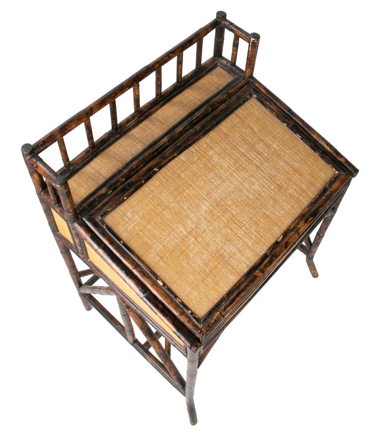 1980s Spanish Bamboo and Rattan Writing Desk For Sale 4
