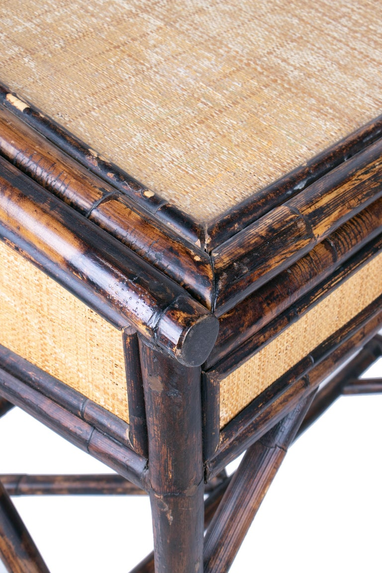 1980s Spanish Bamboo and Rattan Writing Desk For Sale 5