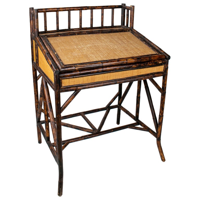1980s Spanish Bamboo and Rattan Writing Desk For Sale