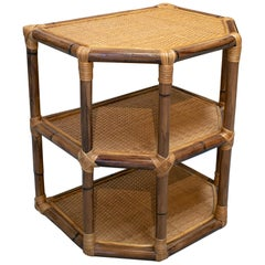 1980s Spanish Bamboo and Wicker 2-Shelve Side Table
