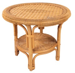 1980s Spanish Bamboo and Wicker Round Side Table