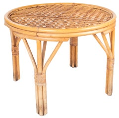 1980s Spanish Bamboo and Wicker Round Table