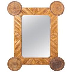 1980s Spanish Bamboo Framed Geometric Mirror